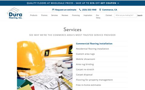 Screenshot of Services Page duracarpet.com - Flooring services in Commerce, CA by Dura Flooring - captured Nov. 14, 2018