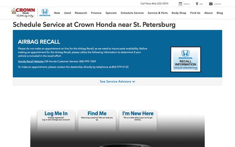 Schedule Service at Crown Honda | Honda Airbag Recall Information