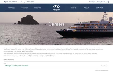 Screenshot of Jobs Page seadream.com - Careers - SeaDream Yacht Club - captured Aug. 25, 2016