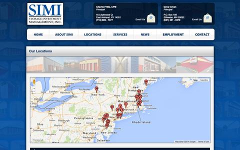 Screenshot of Locations Page simi.org - Our Self Storage in Connecticut, Massachusetts, New Jersey, New York, Pennsylvania, and Rhode Island   Storage Investment Management, Inc - captured Oct. 7, 2014