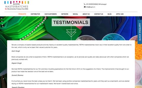 Screenshot of Testimonials Page repin.in - REPIN MASTERBATCHES- No.1 Masterbatches Producer From INDIA - captured Oct. 21, 2017