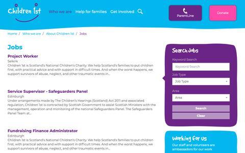 Screenshot of Jobs Page children1st.org.uk - Jobs | Children 1st - captured Nov. 4, 2018