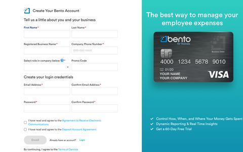 Screenshot of Signup Page Trial Page bentoforbusiness.com - Bento for Business - captured Sept. 3, 2019