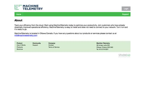 Screenshot of About Page machinetelemetry.com - About - Machine Telemetry Inc. - captured Oct. 1, 2014