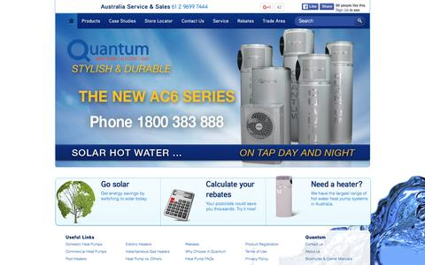 Screenshot of Home Page quantumenergy.com.au - Quantum Energy Technologies | Solar Without The Sun | Reliable Hot Water Heat Pumps | Gas Hot Water | Electric Hot Water | Rebates - captured Jan. 31, 2016