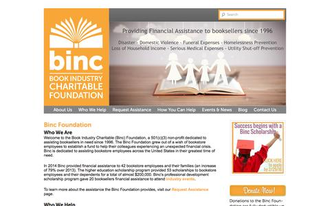 Screenshot of Home Page bincfoundation.org - Help for Booksellers - Book Industry Charitable Foundation - captured Feb. 4, 2016
