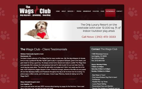 Screenshot of Testimonials Page thewagsclub.com - Testimonials - captured Oct. 9, 2014