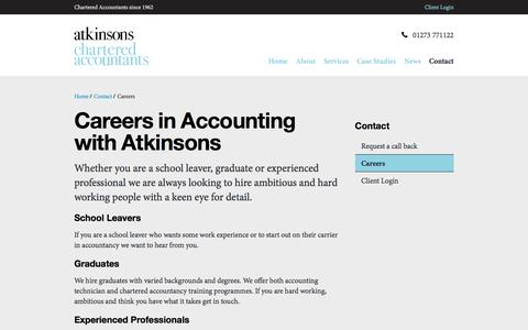 Screenshot of Jobs Page atkinsonsca.co.uk - Careers | Atkinsons Chartered Accountants, Brighton, Hove, Sussex - captured Nov. 21, 2016