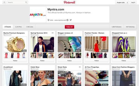 Screenshot of Pinterest Page pinterest.com - Myntra.com on Pinterest - captured Oct. 22, 2014