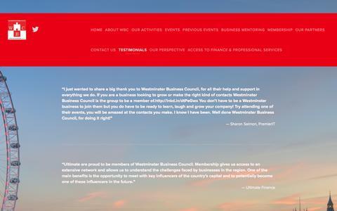 Screenshot of Testimonials Page westminsterbc.org.uk - Testimonials — Westminster Business Council - captured Oct. 26, 2014
