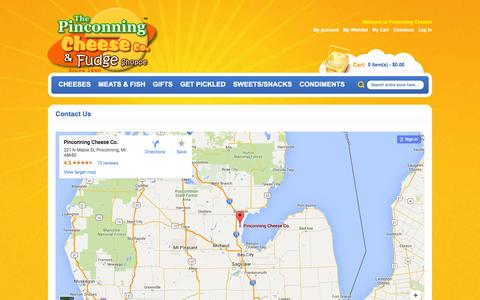 Screenshot of Maps & Directions Page pinconningcheese.com - Contact Us - captured June 21, 2016