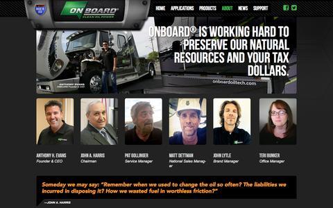 Screenshot of Team Page onboardoiltech.com - Management - ONBOARD® Bypass Oil Filters - captured Oct. 26, 2014