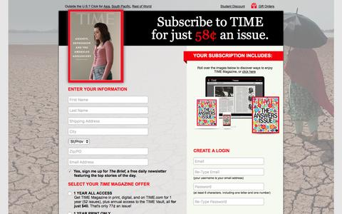 Screenshot of Landing Page time.com - TIME Magazine Subscription Offer - captured Nov. 3, 2016