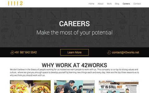 Screenshot of Jobs Page 42works.net - 42Works | Careers & Job Openings - captured Oct. 10, 2014