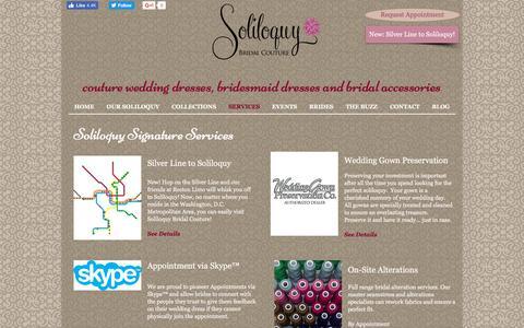 Screenshot of Services Page soliloquybridal.com - Wedding Dress Alterations|Wedding Dress Preservation and Storage - captured Dec. 3, 2016