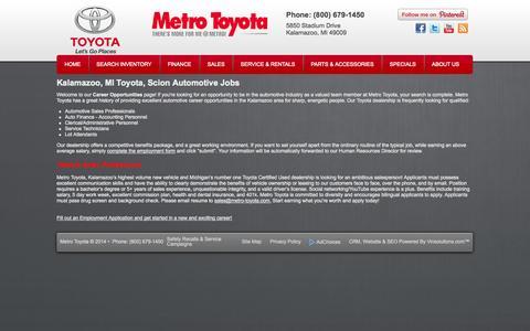 Screenshot of Jobs Page metro-toyota.com - Toyota, Scion Kalamazoo, MI | Automotive Dealership Careers & Jobs at Metro Toyota - captured Oct. 27, 2014