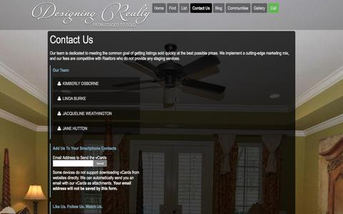 Screenshot of Contact Page designingrealty.com - Contact Designing Realty | Luxury Home Staging and Realty near Jacksonville Florida - captured Sept. 30, 2014