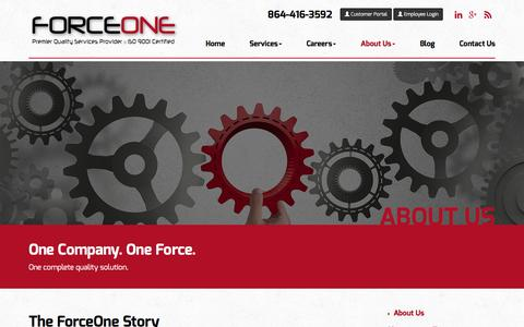Screenshot of About Page goforceone.com - Automotive Quality Management Solutions | ForceOne - captured Feb. 10, 2016