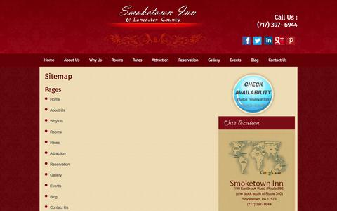 Screenshot of Site Map Page smoketowninn.com - Smoketown Inn Of Lancaster County.PA | Sitemap - captured Oct. 7, 2014