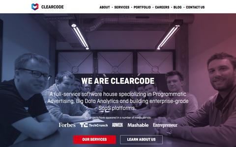 Screenshot of Home Page clearcode.cc - SaaS & Big Data Software Development - Hire Clearcode Developers - captured July 21, 2015