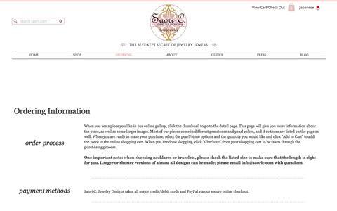 Screenshot of FAQ Page saoric.com - Saori C. Jewelry Designs : Ordering - captured Oct. 5, 2017
