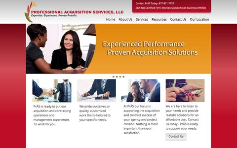 Screenshot of Home Page prasus.com - Government Purchasing Contract Acquisition Operation And Consulting - Professional Acquisition Services Llc - captured Nov. 12, 2016