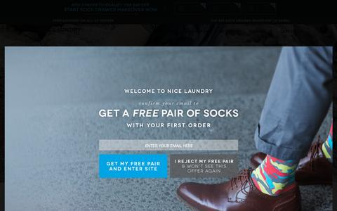 Screenshot of Home Page nicelaundry.com - NICE LAUNDRY - Buy Premium, Colorful Socks for Men and Women - captured Oct. 15, 2015