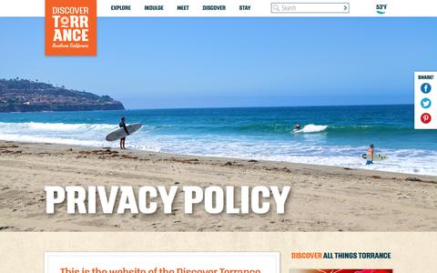 Screenshot of Privacy Page discovertorrance.com - Privacy Policy - Discover Torrance - captured Nov. 24, 2016