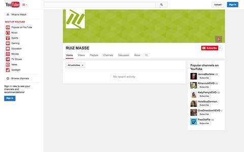 Screenshot of YouTube Page youtube.com - RUIZ MASSE  - YouTube - captured Nov. 4, 2014