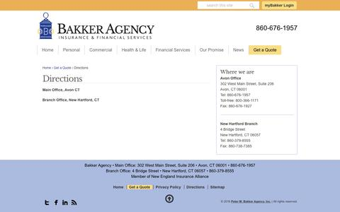 Screenshot of Maps & Directions Page bakkerinsurance.com - Get Your Pinpoint Directions To Our Bakker Agency Offices - captured Nov. 5, 2016