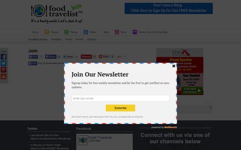 Screenshot of Signup Page foodtravelist.com - Join - Ambassadors of World Food Tourism. - captured Nov. 2, 2015