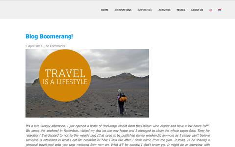 Screenshot of Blog we12travel.com - Blog Boomerang! - we12travel.com - captured June 26, 2016