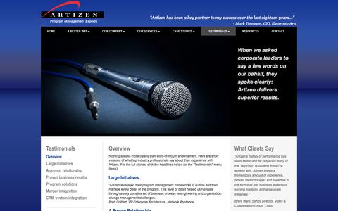 Screenshot of Testimonials Page artizen.com - Testimonials | Artizen, Inc. - Program Management Experts - captured Oct. 4, 2014