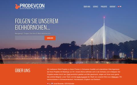 Screenshot of Home Page prodevcon.ch - prodevcon d.o.o. | Professional - Development - Consulting - captured Feb. 2, 2016