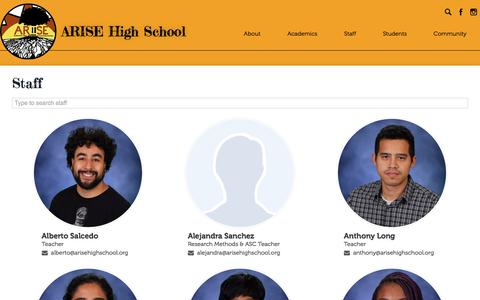 Screenshot of Team Page arisehighschool.org - Staff Directory | ARISE High School - captured July 30, 2018
