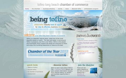 Screenshot of Home Page tofinochamber.org - The Tofino-Long Beach Chamber of Commerce - captured Oct. 6, 2014