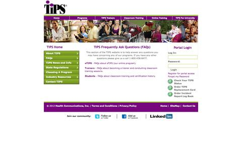 Screenshot of FAQ Page gettips.com - TIPS - Training for Intervention ProcedureS - captured Sept. 23, 2014
