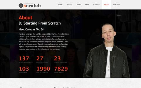 Screenshot of About Page startingfromscratch.com - About - DJ Starting From Scratch - captured Sept. 26, 2014