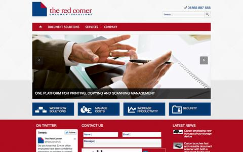 Screenshot of Home Page theredcorner.co.uk - The Red Corner | Canon digital colour photocopiers, oxford, photocopiers in oxford, photocopiers in witney - captured Oct. 9, 2014