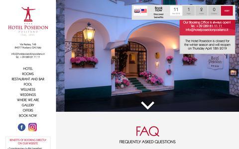 Screenshot of FAQ Page hotelposeidonpositano.it - Hotel Poseidon - Dog Friendly Hotel Positano - Faq - captured Nov. 11, 2018