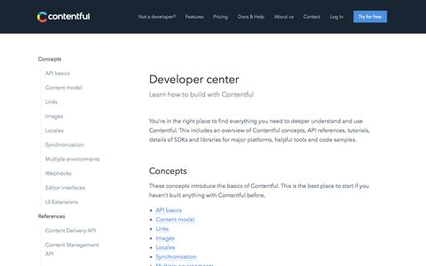 Developer center - Contentful