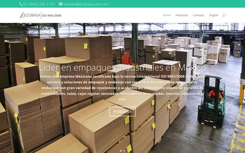 Screenshot of Home Page ecobasa.com.mx - ECOBASA: Boxes, Shipping and Packaging Systems in Mexico - captured June 18, 2015