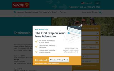 Screenshot of Testimonials Page crownrelo.com - Testimonials   Crown Relocations USA - captured Dec. 25, 2016