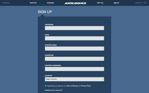 Screenshot of Signup Page airliners.net - Sign Up | Airliners.net - captured Aug. 19, 2016