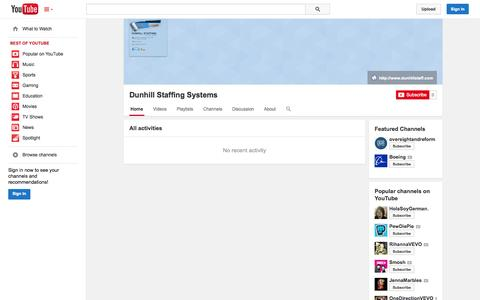 Screenshot of YouTube Page youtube.com - Dunhill Staffing Systems  - YouTube - captured Oct. 23, 2014