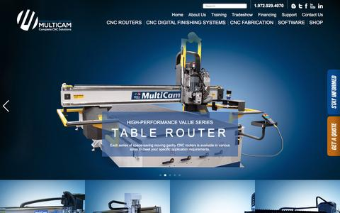 Screenshot of Home Page multicam.com - CNC Cutting Machines for Your Application & Budget | MultiCam - - captured Oct. 7, 2016