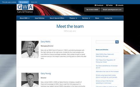 Screenshot of Team Page gwacars.com - Meet the team | GWA Cars & Finance - captured Oct. 1, 2014