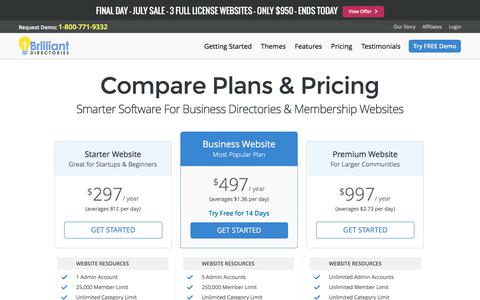 Screenshot of Pricing Page brilliantdirectories.com - Website Directory Software Pricing - Website Directory Script - Directory Software - Directory Script - Directory Template - captured July 30, 2016