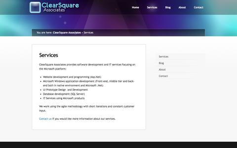 Screenshot of Services Page clearsquareassociates.com - Services ‹ ClearSquare Associates - captured May 18, 2017