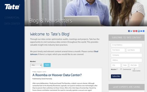 Screenshot of Blog tateinc.com - Tate Airflow Blog - Articles About Data Center Access Floor Systems | Tate, Inc. - captured Jan. 10, 2016